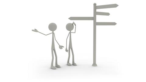2 stilisierte Menschlein vor Wegweiser, der eine steht fragend da und der andere weist ihm den Weg