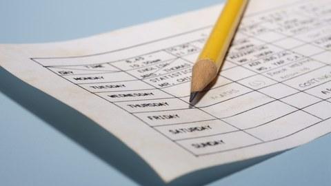 Auf dem Foto ist ein Wochenplan abgebildet. Auf dem Wochenplan liegt ein Bleistift.