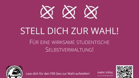 Wahlplakat mit Bildaufschrift: Stell dich zur Wahl!