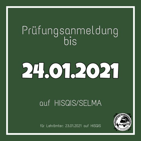 Text zur Erinnerung an die Prüfungseinschreibung im WS 2020/21
