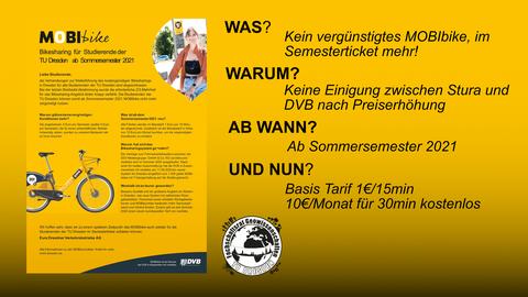 Plakat zur Erklärung, warum das MOBIbike-System nicht mehr im Semesterticket inkludiert ist.