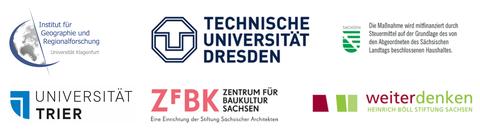 Logos der Organisatoren und Unterstützer der Ringvorlesung Wohnraum für Alle?! (TU Dresden, AAU Klagenfurt, Uni Trier, Stiftung Weiterdenken, Zentrum für Baukultur)
