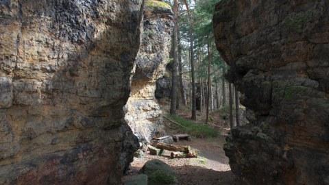 Das Bild zeigt die Schichtung des Sandstein