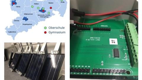 Das Bild zeigt eine Collage zum Projekt Sensorsysteme. Dazu gehören eine Karte von Sachsen mit den Standorten beteiligter Schulen, ein Foto von Solarzellen und ein Foto eines Messgerätes.