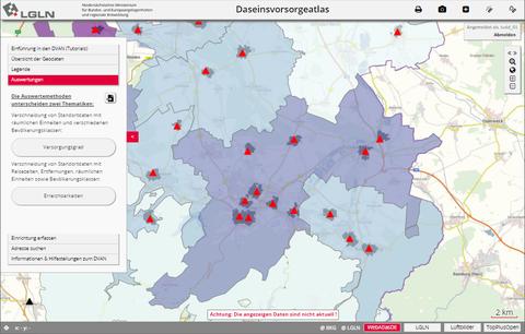 Screenshot Daseinsvorsorgeatlas Niedersachsen