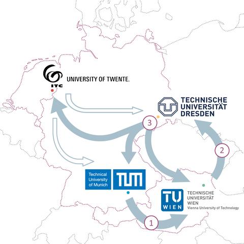 Karte aller vier Partner-Universitäten