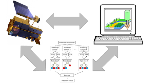 Integrating satellite observations, with ecosystem models and machine learning.