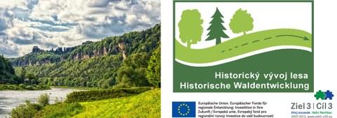 Landschaftsbild, Elbe und bewaldete Steilhänge nähe Bad Schandau, Projektlogo