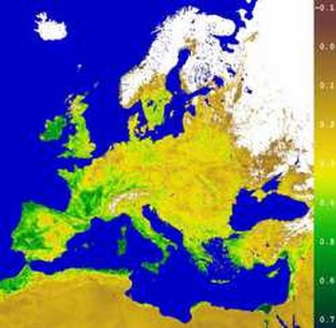 Abb.6-14: Einzug des Frühlings in Europa Copyright © 2000 German Remote Sensing Data Center