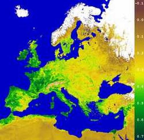 Abb.6-15: Einzug des Frühlings in Europa Copyright © 2000 German Remote Sensing Data Center
