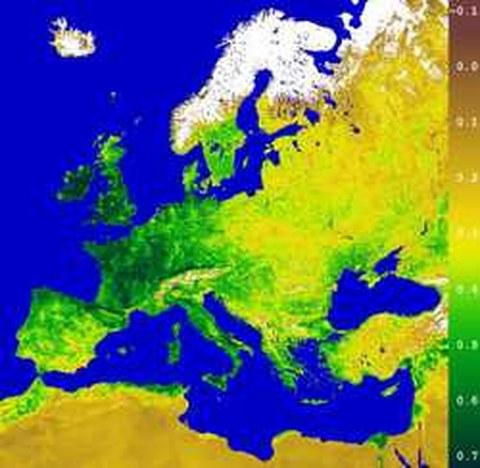 Abb.6-16: Einzug des Frühlings in Europa Copyright © 2000 German Remote Sensing Data Center