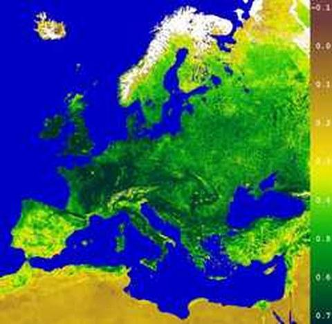 Abb.6-17: Einzug des Frühlings in Europa Copyright © 2000 German Remote Sensing Data Center