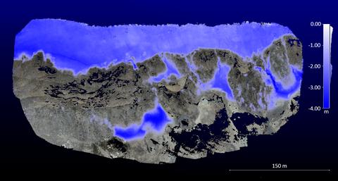 Veränderungsdetektion am Bellinghausen Dome, King George Island, mittels zweier 3D Oberflächenmodelle aus UAV Daten (Temporaler Versatz: 03/2019 | 02/2020). Kartierung signifikanter Abnahmen von Gletscher- und Schneeflächen (Einheit: Meter).