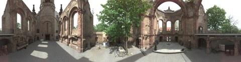Panoramabild in der Ruine der Trinitatiskirche Dresden