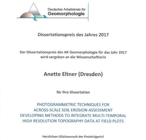 Dissertationspreis für Anette Eltner