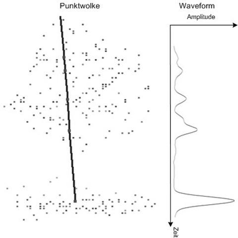 Strahlverlauf und detektierte Punkte einer Waveform für Vegetation