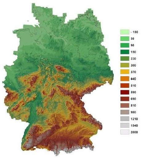 Abb. 1: Digitales Geländemodell von Deutschland