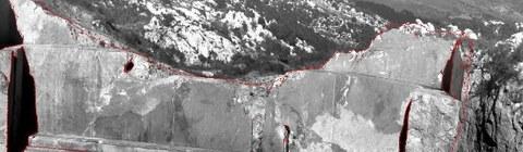 Abb. 2: Hyperspectralbild auf Grauwertebild reduziert, rote Linien repräsentieren berechnete Schattengrenzen