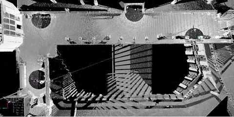 Abb. 1: Draufsicht der verknüpften Punktwolken auf dem Beyer-Bau