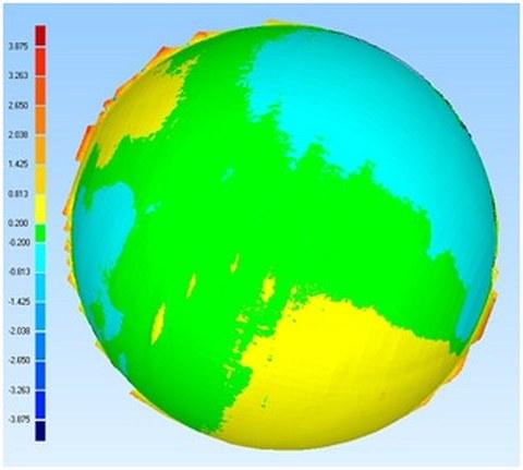 Abb. 2: 3D-Abweichung der Halbkugel aus STARscanner-Aufnahme zum ATOS II Triple Scan