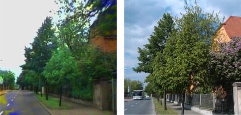 Abb. 2: Vergleich einer aus Hyperspektraldaten konstruierten RGB-Darstellung (links) und mit Hanykamera fotografierte Szene (rechts)
