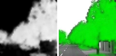 Abb. 3: unbearbeitetes NDVI Ergebnis mit Wertebereich 0 - 1 (links) und mit NDVI überlagertes SW-Bild der gleichen Szene (rechts)