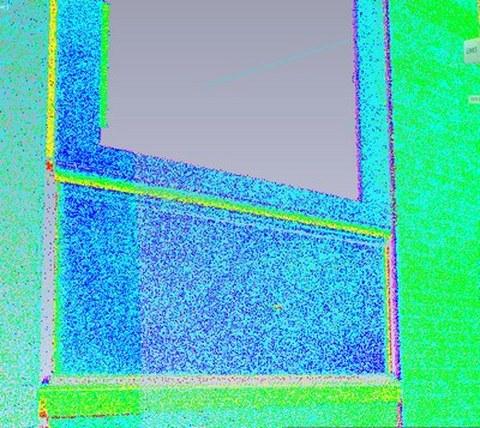 Abb. 2: Abweichungen der Einzelpunkte der RiScan-Punktwolke aus der jeweiligen Ebene