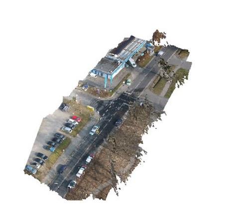 Erhaltene Punktwolke aus einer Mehrbildsequenz mittels Agisoft Photoscan