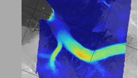 Fließgeschwindigkeit des Gletschers im März 2012 während der Ruhephase. Der Hauptarm fließt von Ost nach West bis zur Gletscherfront links oben im Bild. Die Geschwindigkeiten in diesem Monat reichen von 0 m/Tag (blau) bis 0,35 m/Tag (orange.)