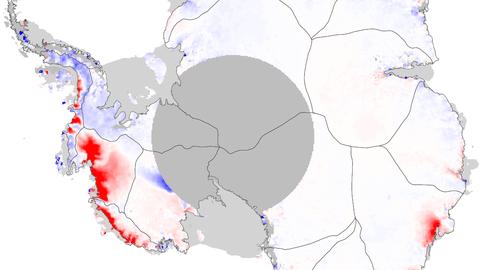 Räumliches Muster der Eishöhenänderungsrate im Zeitraum von 1992 bis 2017 in Meter pro Jahr.
