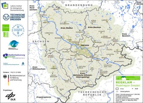 Karte der Modellregion REGKLAM
