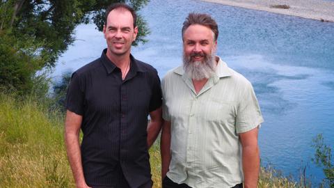 Thomas Wöhling and Scott Wilson beside the Wairau River at Barnetts Bank