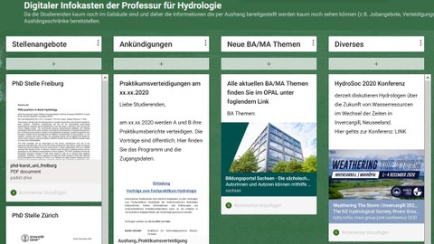 Digitale Pinnwand Professur für Hydrologie