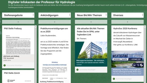 Digitale Pinnwand Professur für Hydrologie