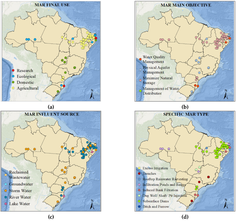 Localization of managed aquifer recharge (MAR) solutions in Brazil, sorted by (a) MAR final use; (b) MAR main objective; (c) MAR influent source; (d) Specific MAR type. Data adapted from the Global MAR Portal. Source: Shubo, T., Fernandez, L., Montenegro, S.G. (2020). An Overview of Managed Aquifer Recharge in Brazil. Water, 12, 1072; doi:10.3390/w12041072.