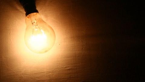 Idea presented in illuminated Light Bulb
