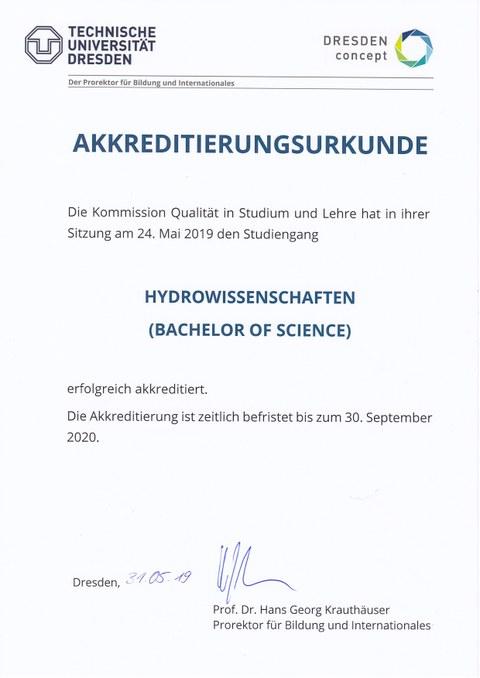 Akkreditierungsurkunde Bachelor Hydrowissenschaften