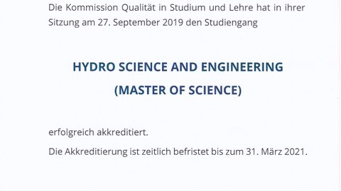 Akkreditierungsurkunde des Masters Hydro Sience and Engineering
