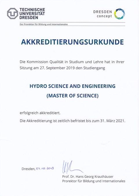 Akkreditierungsurkunde des Masters Hydro Sience and Engineering