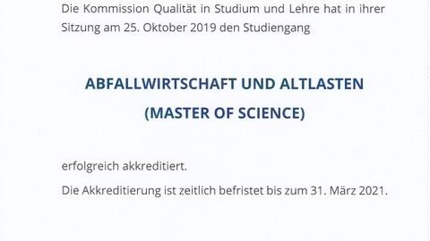 Akkreditierungsurkunde des Masters Abfallwirtschaft und Altlasten