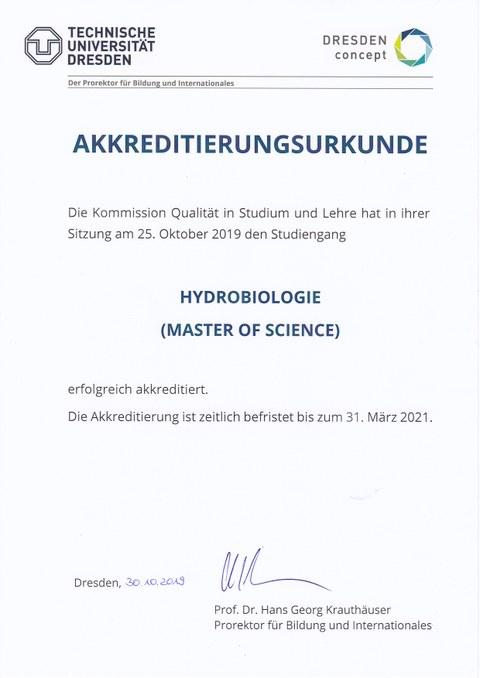 Akkreditierungsurkunde des Masters Hydrobiologie