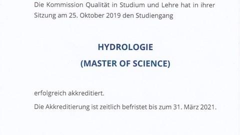 Akkreditierungsurkunde des Masters Hydrologie