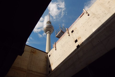 View through logistics access to the TV tower