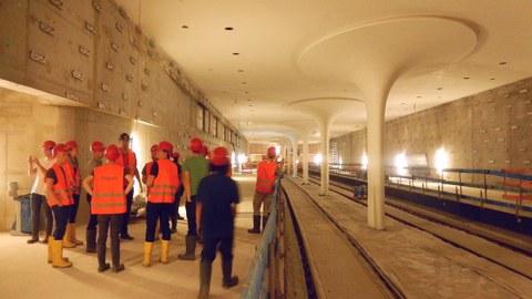 Baustelle U-Bahnhof Rotes Rathaus, zukünftiger Bahnsteigbereich