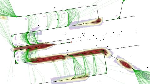 Darstellung der resultierenden Kollisionsrisiken (heat map) im Anflugbereich eines (generischen) Flughafens