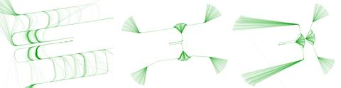 Simulierte Trajektorien - RNAV-Anflugtrombone (links), Point-Merge Variante 1 (mitte), Point-Merge Variante 2 (rechts)
