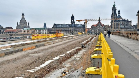 Baustelle Augustusbrücke Dresden