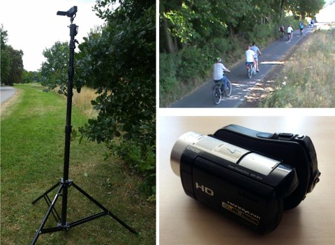 This image is made up of three pictures: a digital camera on a tall tripod, a close up of a digital camera on a table, and an image of a full bike path being filmed with a digital camera.