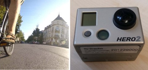 """The picture for long-term video surveys consists of two single frames. The first image shows the recording device """"Mio Vision Scout"""" in use, attached to a mast. The second image contains the video view of the measurement equipment."""