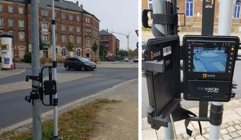 """The image for dynamic video collection consists of two single images. The first image shows the camera being used by a cyclist. The second image shows the camera """"Go Pro"""" itself."""